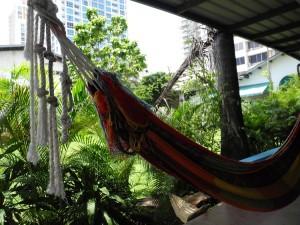 Der Garten der Casa Margarita lädt zum Entspannen inmitten des Grossstadtdschungels ein.