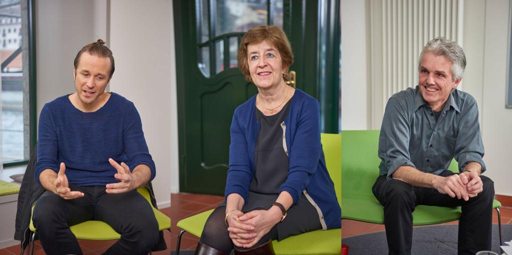 Pee Wirz, Marianne Zaccaria und Pius Häfliger (von links) diskutierten über den Stellenwert der Kultur im Schulalltag.